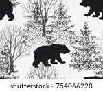 beautiful hand drawn seamless... | Shutterstock .eps vector #754066228