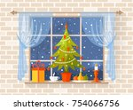 christmas scene with a... | Shutterstock .eps vector #754066756