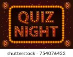 quiz night lamp concept. vector ... | Shutterstock .eps vector #754076422