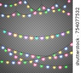 christmas lights isolated on... | Shutterstock .eps vector #754077532