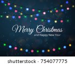 merry christmas greeting card... | Shutterstock .eps vector #754077775