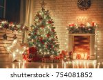 merry christmas and happy new... | Shutterstock . vector #754081852