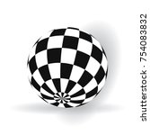 3d ball with squares of black... | Shutterstock .eps vector #754083832