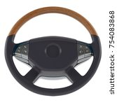 3d steering wheel on a white... | Shutterstock . vector #754083868