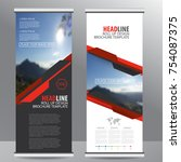 red roll up business brochure ... | Shutterstock .eps vector #754087375