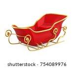 christmas sleigh isolated. 3d... | Shutterstock . vector #754089976