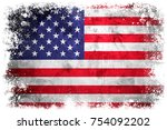 national flag of united states... | Shutterstock . vector #754092202