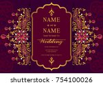 indian wedding invitation card... | Shutterstock .eps vector #754100026
