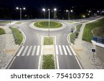 Empty Roundabout At Night