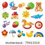 set of colorful children's pictures for kindergarten - stock vector
