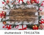 christmas decoration on wooden... | Shutterstock . vector #754116706