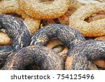 bagels with poppy seeds and... | Shutterstock . vector #754125496