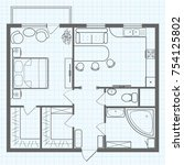 black and white sketch plan of... | Shutterstock .eps vector #754125802