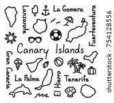 canary islands hand drawn... | Shutterstock .eps vector #754128556