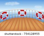 cruise ship deck and blue sea... | Shutterstock .eps vector #754128955