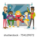 multicultural people traveling... | Shutterstock .eps vector #754129072