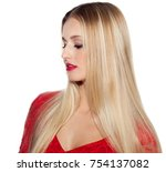 beautiful woman with long blond ... | Shutterstock . vector #754137082