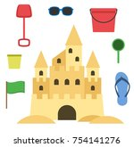 sand castle isolated in flat... | Shutterstock .eps vector #754141276
