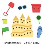 sand castle isolated in flat... | Shutterstock .eps vector #754141282