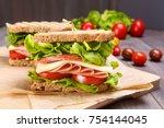delicious ham  salami  cheese... | Shutterstock . vector #754144045
