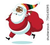 cartoon rastafarian santa claus.... | Shutterstock .eps vector #754145095