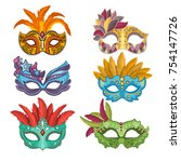 woman masks with feathers for... | Shutterstock .eps vector #754147726