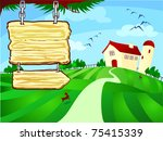 farm surrounded by fields with... | Shutterstock . vector #75415339