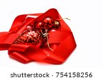 christmas decoration on red... | Shutterstock . vector #754158256