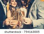men and women celebrating... | Shutterstock . vector #754163005