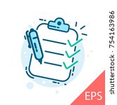 clipboard with checklist.... | Shutterstock .eps vector #754163986