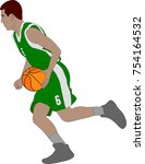 basketball player illustration  ... | Shutterstock .eps vector #754164532