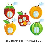 Fruit-berry small houses - stock photo