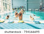 kids trying to dive in swimming ... | Shutterstock . vector #754166695