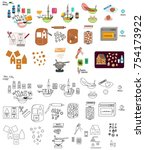recipe gingerbread house man... | Shutterstock .eps vector #754173922