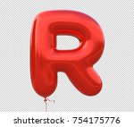 red balloon font letter r made... | Shutterstock . vector #754175776