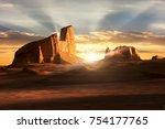 sunset in the dasht e lut...   Shutterstock . vector #754177765