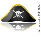 Glossy vector illustration of a pirate hat reflected on a white background - stock vector