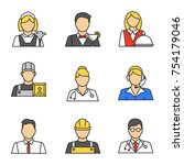 professions color icons set.... | Shutterstock .eps vector #754179046