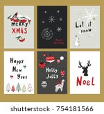 merry christmas vector cartoon... | Shutterstock .eps vector #754181566