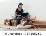cute freelance worker  or... | Shutterstock . vector #754185262