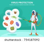 concept illustration of viruses ... | Shutterstock .eps vector #754187092
