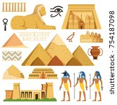 pyramid of egypt. history... | Shutterstock .eps vector #754187098