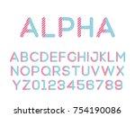 vector of modern stylized font. ... | Shutterstock .eps vector #754190086