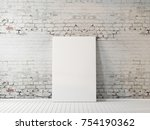 poster mockup on the brick wall ... | Shutterstock . vector #754190362