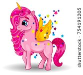 pony unicorn with golden wings... | Shutterstock .eps vector #754191205