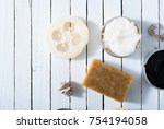 organic skin care butters from  ... | Shutterstock . vector #754194058