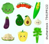 cute cartoon vegetable smiles... | Shutterstock . vector #754199122