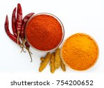 indian spices chilli and... | Shutterstock . vector #754200652