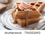 waffles with peanut butter and...   Shutterstock . vector #754202692