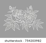 beautiful roses with openwork... | Shutterstock .eps vector #754203982